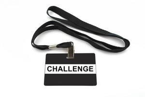 challenge badge isolated on white background photo