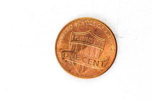Moeda de 1 centavo de cobre em deus confiamos
