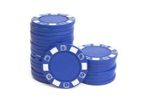 two stacks of blue poker chips with clipping path photo