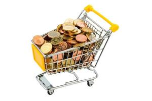 shopping cart with coins photo
