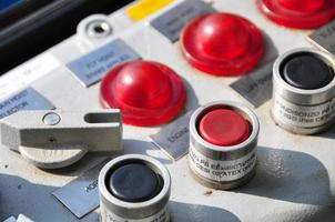Closeup of control dials on manufacturing machinery photo