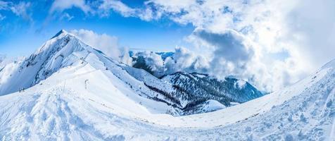 sports mountains landscapes winter tourist snow nature blue  sky photo