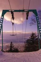 T-strap ski lift at sunset photo