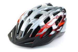 mountain bike helmet, isolated on white background photo