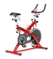 stationary exercise bike isolated on white background photo
