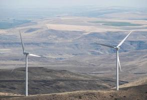 Wind turbines on mountain pass in central Washington state photo