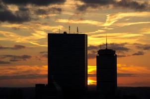 Sunset behind skyscrapers in Boston