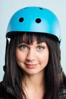 funny woman wearing cycling helmet portrait real people high definition