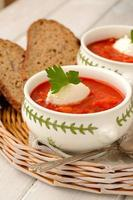 tomato soup with croutons photo