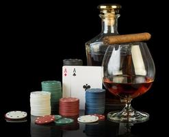 Poker chips and dollar bills photo