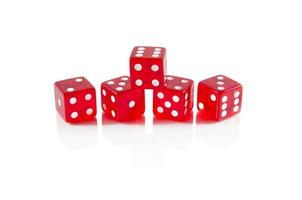 Red dice on white isolated background