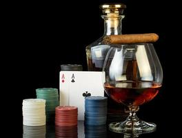 Poker chips and cognac