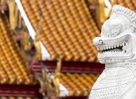 Twin lion in temple, Bangkok, Thailand photo