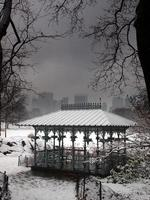Snow of Winter covers the Ladies' Pavilion in Central Park.