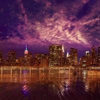 manhattan nueva york horizonte de la puesta del sol desde el este foto