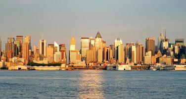 cidade de nova york manhattan ao pôr do sol