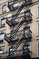 Outside metal fire escape stairs, New York City, USA photo