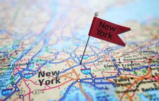 New York flag and map