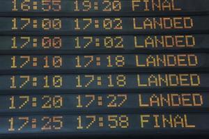 panel de información de vuelos