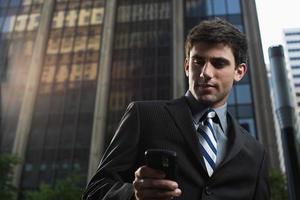 Businessman using a cellular telephone