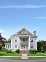 Victorian Style Home Front Yard Sidewalk Curb photo