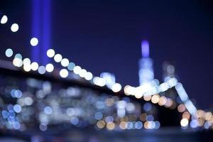 Out of focus bokeh lights at Brooklyn Bridge