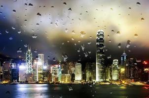 vista nocturna de hong kong del puerto de victoria foto