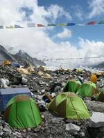 Tents at Everest Base Camp in Nepal photo