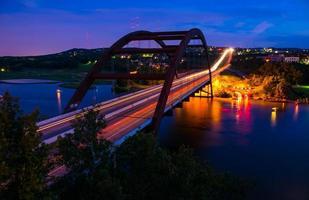 Pennybacker Loop 360 Bridge Night Shot Circle Lights Austin Texas photo