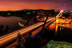 Night 360 Bridge Pennybacker Austin Long Exposure Trails All Night