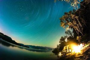 Star Trails over Lake, Liptovska Mara, Slovakia photo