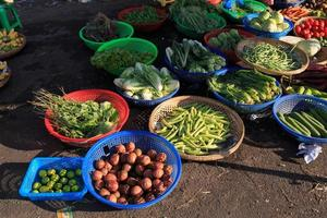 Vegetables and fruit on the Hoa Binh, market street. photo