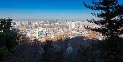 City viewed from San Cristobal hill, Santiago, Chile photo