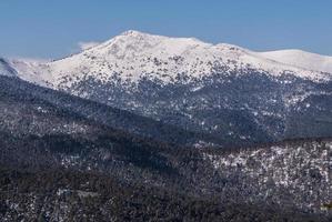 "Snowy mountains and ""bola del mundo"" in Navacerrada, Madrid, Spain photo"