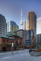 Vertical Toronto scene with CN tower behind photo