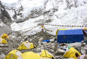 Carpas en el campamento base del Everest, día nublado.