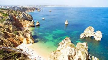 Aerial from natural rocks near Lagos in the Algarve Portugal photo