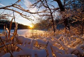 puesta de sol congelada foto
