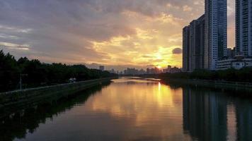 City sunset scenery photo