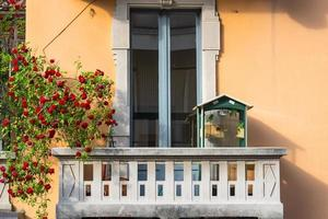 Milan, balcony with birds and roses