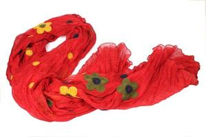 Female red scarf photo