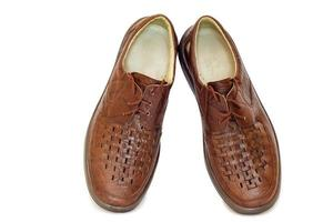 Men's leather shoes on a white background. photo