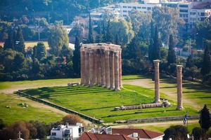 Zeus temple from high spot in Athens, Greece photo