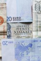 Greek money, drachma with euro paper money
