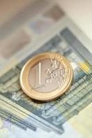 Money, finances. Euro coin photo