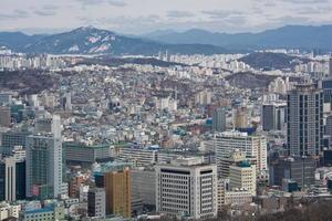 vista aérea del paisaje urbano de Seúl foto