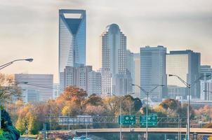 charlotte north carolina skyline during autumn season at sunset photo