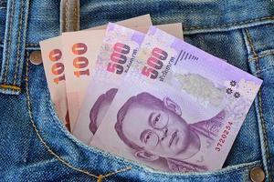 500 and 100 banknotes in men' s blue  jeans pocket