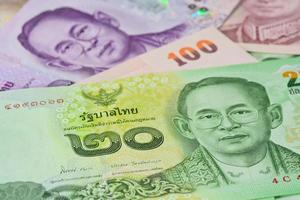 Thai banknotes (baht) for money and business  concepts photo
