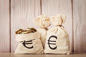 Money bags with euro coins over defocused wooden background